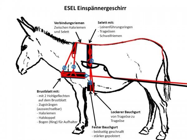 ESEL - Brustblattgeschirr incl. Selett (Einspänner)